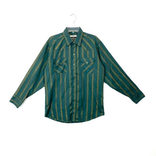 Vintage Metallic Stripe Western Shirt- Front