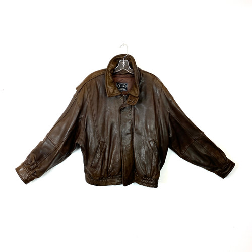 Vintage Tannery West Leather Aviator Jacket- Front