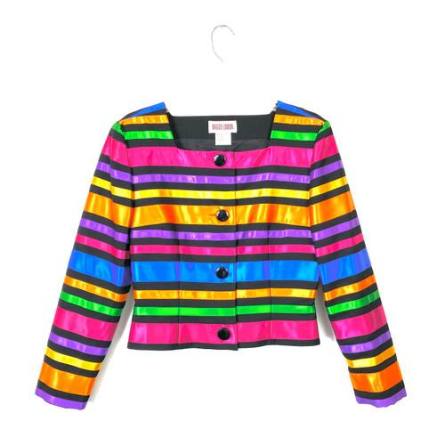 Vintage Maggie London Rainbow Ribbon Jacket- Front