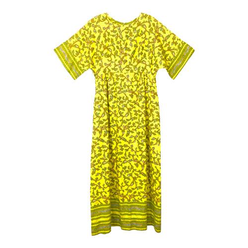 Vintage Vine Pattern Short Sleeve Dress- Front