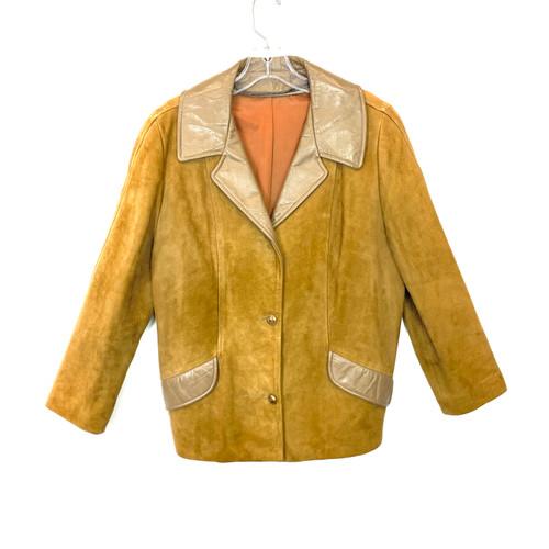 Vintage Leather Trimmed Suede Blazer- Front