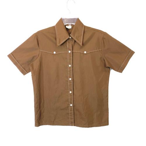 Vintage Contrast Stitch Short Sleeve Shirt- Front