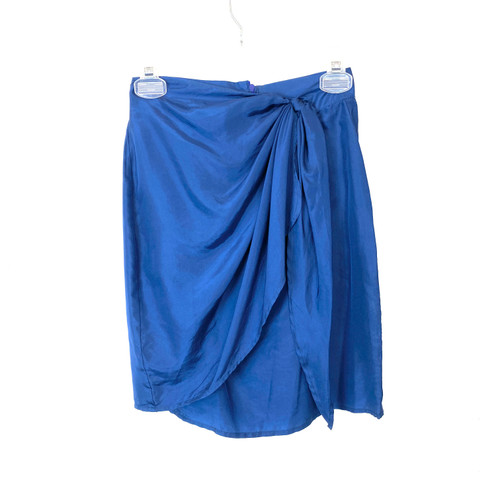 Vintage City Safari Silk Sarong Mini Skirt- Front