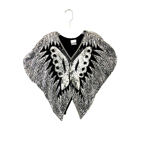 Vintage Silk Sequin Butterfly Top- Front