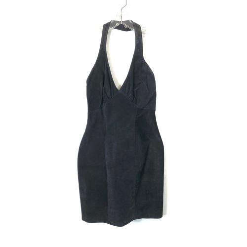 Vintage Hugo Buscati Suede Halter Mini Dress- Front
