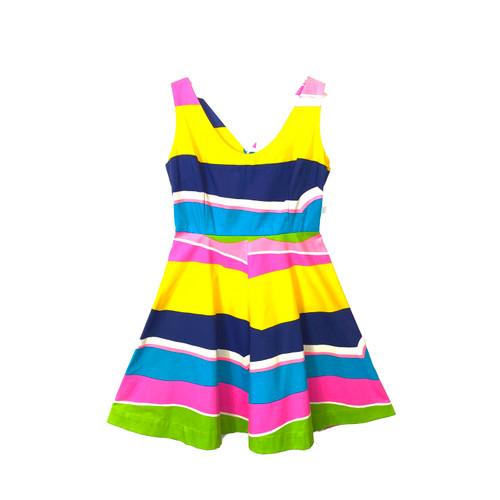 Vintage Beach Stripe A-Line Dress- Front