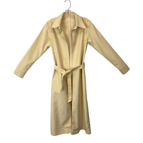 Vintage Open Front Cream Suede Trench- Front