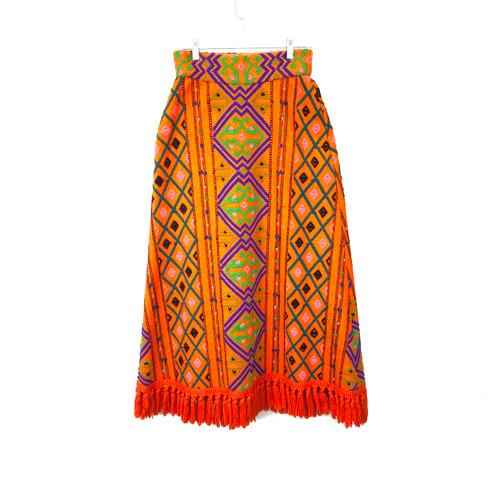 Vintage Diamond Embroidered Maxi Skirt- Front