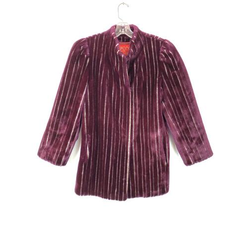 Vintage Sasson Textured Stripe Faux Fur Coat