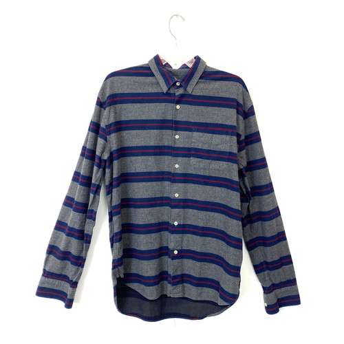 Barneys New York Broad Stripe Flannel Button Down- Front
