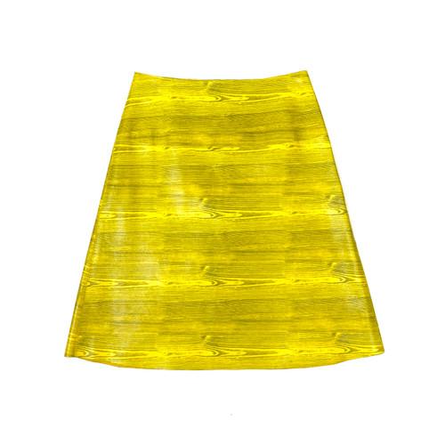 Leather Wood Grain Mini Skirt- Front