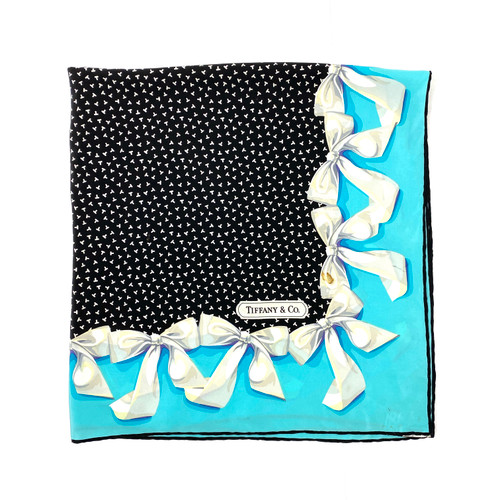 Vintage Tiffany & Co. T Design with Bows Silk Scarf- Edge