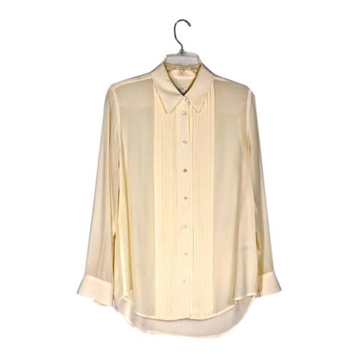 Equipment Pleated Silk Tuxedo Shirt-Front