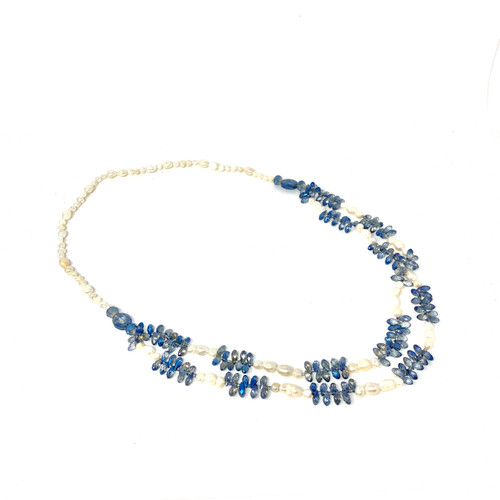 Faux Pearl and Blue Beads Necklace- Front