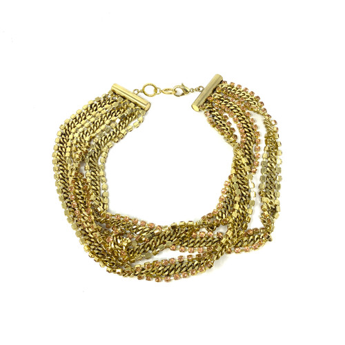 Gold Layered Chains and Rhinestones Necklace- Front