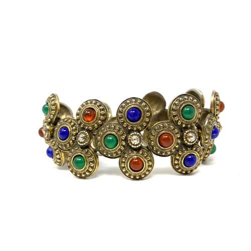 Multicolor Stone Circles Bracelet- Thumbnail