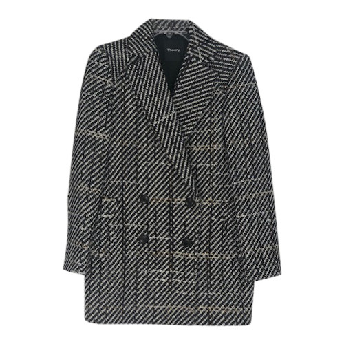 Theory Double Breasted Tweed Coat-Front