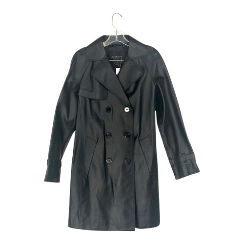 Coach Leather Trench Coat-Front