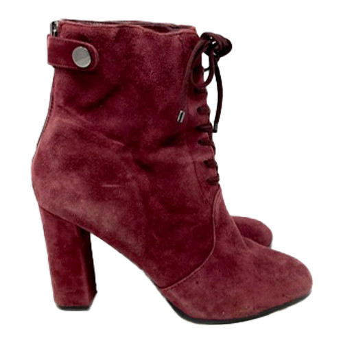Saks Fifth Avenue Suede Lace-Up Booties- Right