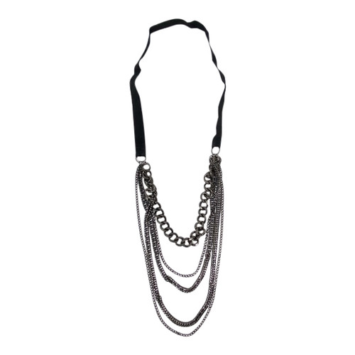 Chain and Ribbon Layered Necklace- Front