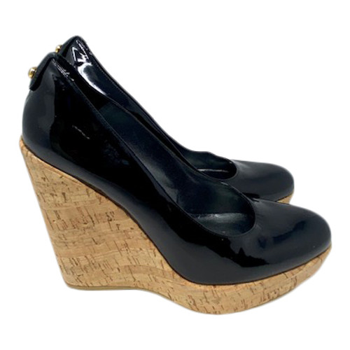Stuart Weitzman Patent and Cork Wedges- Right