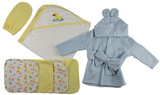 Blue Infant Robe, Yellow Hooded Towel, Washcloths And Hand Washcloth Mitt - 7 Pc Set
