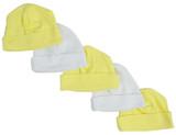 Yellow & White Baby Caps (pack Of 5)