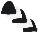 Black & White Baby Caps (pack Of 5)