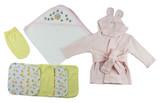 Pink Infant Robe, Hooded Towel, Washcloths And Hand Washcloth Mitt - 7 Pc Set