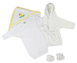 Neutral Newborn Baby 3 Pc  Set (gown, Robe, Hooded Towel)