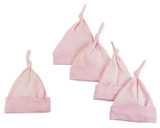 Pink Knotted Baby Cap (pack Of 5)