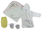 Girls Infant Robe, Hooded Towel And Washcloth Mitt - 3 Pc Set