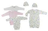 Gown, Onezies And Caps - 6 Pc Set