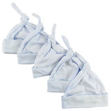 Blue Knotted Baby Cap (pack Of 5)