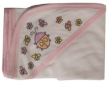 Hooded Towel With Pink Binding And Screen Prints
