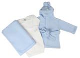 Newborn Baby Boys 3 Pc  Set (gown, Robe, Fleece Blanket)