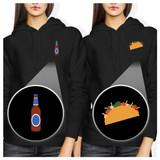 Beer And Taco Pocket BFF Hoodies Best Friends Hooded Sweatshirts