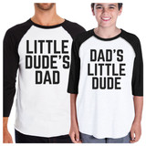 Little Dude Funny Matching Baseball Tees Gifts For Dad and Baby Boy