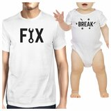 Fix And Break White Dad and Baby Girl Matching Tops Funny Dad Gifts