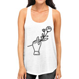 Hand Holding Flower White Racerback Unique Design Tank Top For Her