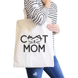 Cat Mom Natural Canvas Tote Bag Unique Graphic Gifts For Cat Lady
