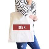 198X Natural Canvas Tote Bag Trendy Shoulder Bag Eco-Friendly