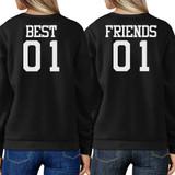 Best 01 And Friend 01 BFF Sweatshirts Friendship Matching Black Fleece