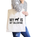 Dog My Valentine Natural Canvas Bag Valentine's Day For Dog Lovers