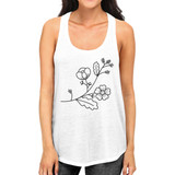 Flower Womens White Racerback Unique Design Cute Gift Ideas For Her