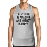 Everything Amazing Nobody Happy Mens Gray Sleeveless Tank Top