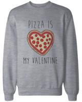 Funny Valentine Graphic Sweatshirts - Pizza Is My Valentine Grey Pullovers
