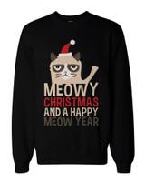 Grumpy Cat Funny Holiday Graphic Sweatshirts - Unisex Black Sweatshirt