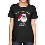 Realistic Santa Black Women's T-shirt Christmas Gift Funny Shirt