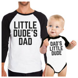 Little Dude Funny Matching Baseball Shirts Gifts For Dad and Son
